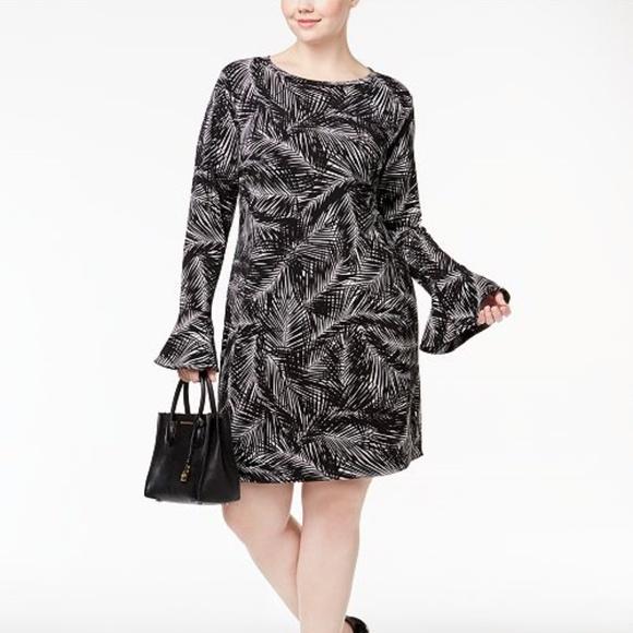 2792e6e2194 MICHAEL Michael Kors Dresses | Palm Print Bell Sleeve Dress | Poshmark